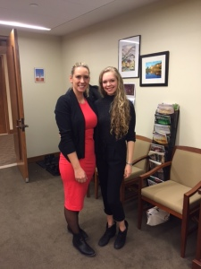 Rebecca MacLeod with MP Ruth-Ellen Brosseau during the 2015-16 program.