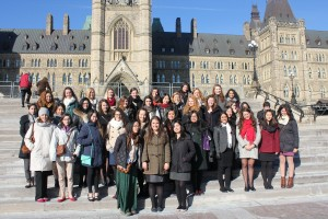 2013 Women in House participants on the front steps of Parliament in Ottawa